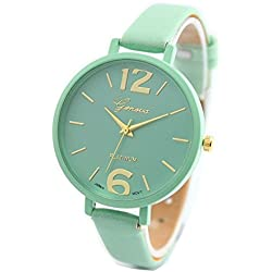 WINWINTOM Candy Color Faux Leather Analog Quartz Wrist Watch Mint Green