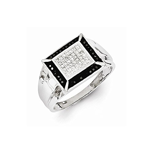 Sterling Silber Rhodium überzog Schwarz und Weiß Diamant-Ring der Männer durch UKGems -Sterling Silver Rhodium Plated Black and White Diamond Men's Ring by UKGems Black Diamond Und Silver Ring