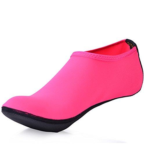 Kinder Strand Schuhe (SITAILE Sommer Aqua Schuhe Barfuß Weich Wassersport Yoga Schuhe Strandschuhe Schwimmschuhe Surfschuhe für Damen Herren Erwachsene,B,Rosa,ErwachseneL)