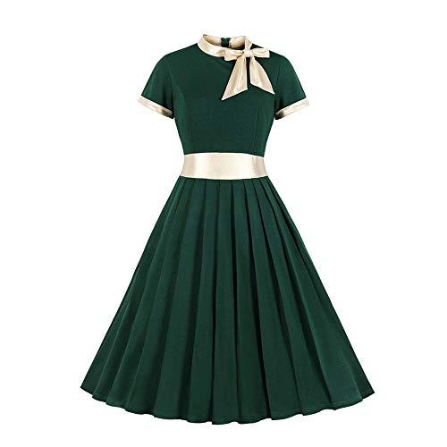 Beonzale Damen Mode Plus Size 1950Er Vintage Retro Cocktailkleid Bogen Stehkragen Patchwork Party Kleid Schwingen Petticoat Faltenrock -