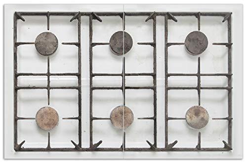 Wallario Herdabdeckplatte/Spritzschutz aus Glas, 2-teilig, 80x52cm, für Ceran- und Induktionsherde, Motiv Alter Gasherd, ungeputzt und dreckig