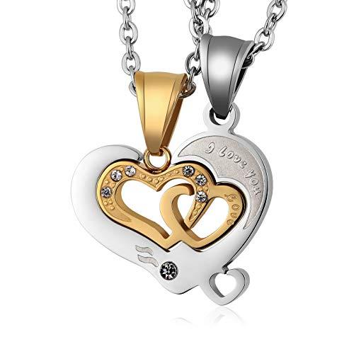 Blisfille Paar Kette Gold Goldkette Herren Gold Halskette Paar Puzzle Herz Anhänger Halskettes Titanstahl Kette