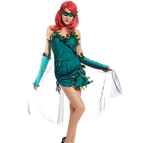 Gr.L Sexy Poison Ivy Super Hero Erwachsene Damen Superheld Kostuem Superhero Halloween Party Maedchen Fasching (Ivy Poison Kinder Kostüme)