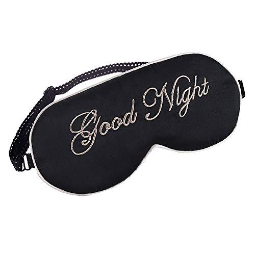 Bobo Mulberry Silk Schlaf Augenmaske & Augenbinde mit Gummiband/Stirnband, weiche Augenabdeckung (Farbe : Schwarz)