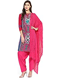 Jaipur Kurti Pure Cotton Complete Set Of Blue Kurta And Rani Pink Patiala Dupatta