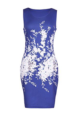 Babyonline Damen Casual Etuikleid Business Sommerkleid Geblümt Gr.S-3XL Blau