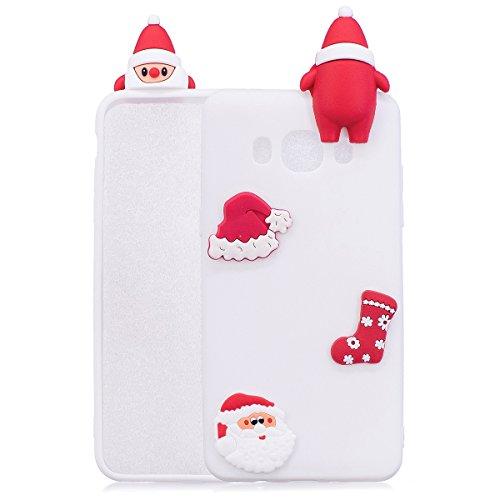 016) J510 Case Tasche 3D Weihnachten Santa Xmas HandyHülle Ultra-dünne Slim Silikon Case Leicht TPU Ultra Thin Soft Stoßfest Shockproof Staubdicht Schutzhülle Covers Sleeve für Weihnachtsgeschenk (Santa Maskottchen)