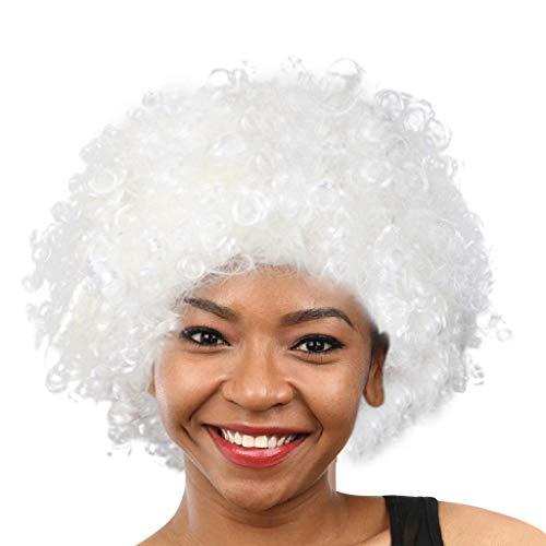 Party Disco Lustiger Afro Clown Haar Fußball Fan-Erwachsener Afro Maskerade Perücke Halloween Karneval Perücke Haar Curl Perücken Kunstfaser Haarteil Party Haar Fan Kostüm Schönheit Perücke (F)