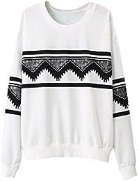 SODIAL (R) Moda Europa para las mujeres etnica de impresion Blusa sudor camisa Blanco - L