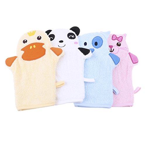 Peerless 2er Pack Cute Cartoon Tier Handpuppe weichen Handschuhe Baby Bad Dusche Body Waschhandschuhe für Neugeborene kleinkind Kids Kinder