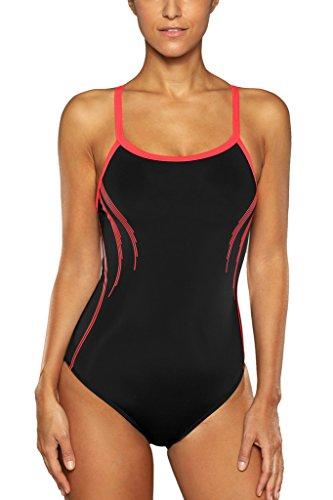 CharmLeaks Damen Einteiler Badeanzug Essential Bademode Streifen Schwarz Rot L (Badeanzug Einteiler Damen)