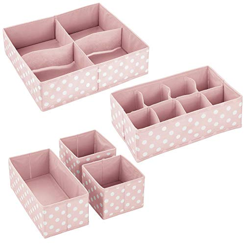 mDesign Set da 5 Scatole portaoggetti e porta giochi con diversi scomparti – Scatole per armadi ideali per organizzare gli accessori nelle camerette per bambini – rosa chiaro e bianco - 9