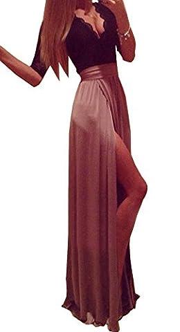 2016 Sommer Damen Spitze Spleißen Chiffon Kleid 3/4-Arm Tief V Ausschnitt Brautkleid Festkleid Party Cocktail Abendkleid mit Schlitz (EU32-34, Braun)