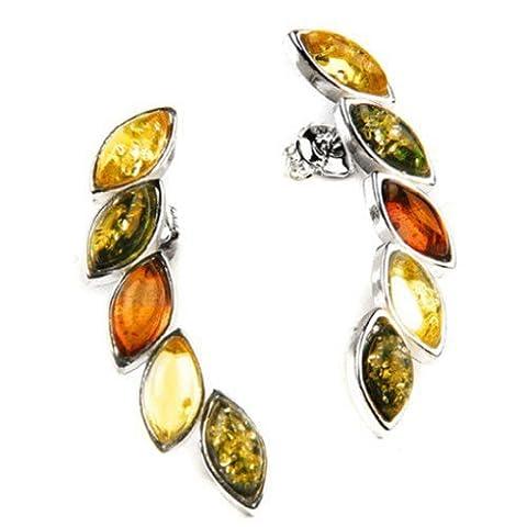 Multicolor Amber Sterling Silver Spike Earrings