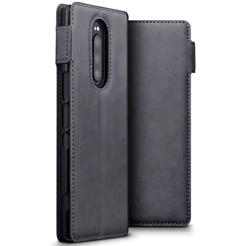 TERRAPIN, Kompatibel mit Sony Xperia 1 Hülle, ECHT Spaltleder Börsen Tasche - Slim Fit - Betrachtungsstand - Kartenschlitze - Grau