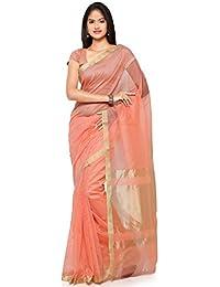 Kanchnar Women's Blue And Golden Cotton Linen Plain Party Wear Saree With Un-stitched Blouse Fabric