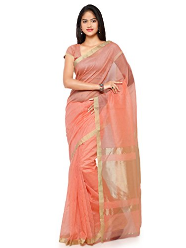 KANCHNAR Women's Cotton Saree With Blouse Piece (228S324 _Golden And Peach)