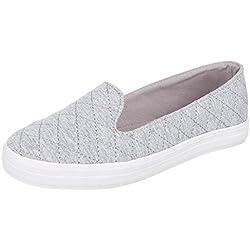 Damen Schuhe, 55-31, HALBSCHUHE, SLIPPER, Textil , Hellgrau, Gr 41