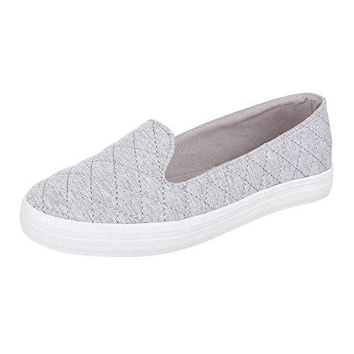 Damen Schuhe, 55-31, HALBSCHUHE, SLIPPER, Textil , Hellgrau, Gr 40 (Schuh Karierte Keds)