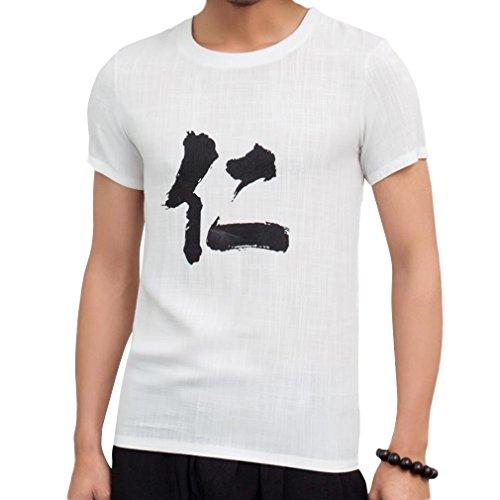 Honghu Herren National Wind Crew Neck Drucken T-shirt Weiß Ren