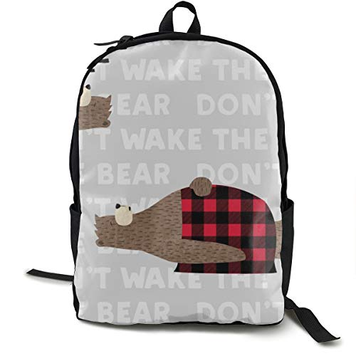 Don't Wake The Bear - Grey Adult Premium Travel Backpack, Water-Resistant College School Bookbag, Sport Daypack, Outdoor Rucksack, Laptop Bag for Men&Women -