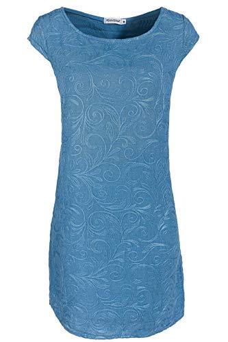 PEKIVESSA Damen Leinenkleid Häkel-Stickerei Sommerkleid Jeansblau 46/48 (Herstellergröße XXXL)