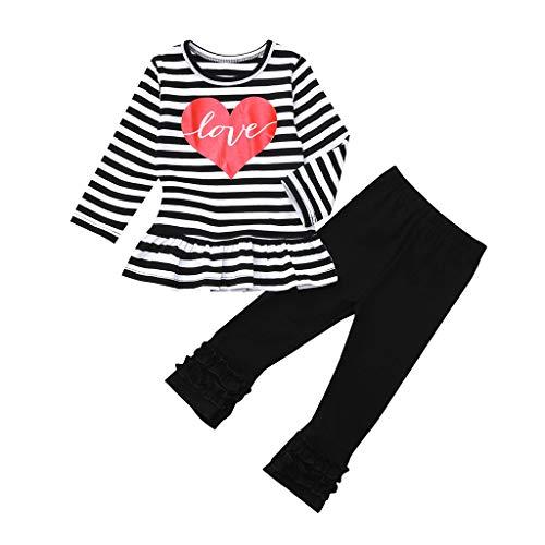 Pwtchenty Bekleidungssets 2 Stück Kleinkind Säugling Baby Mädchen Freizeit Overall Baby Baumwolle Gestreifte Rüschen Kleider Set Lange Ärmel Tops + Hose Outfits Hohe Qualität -