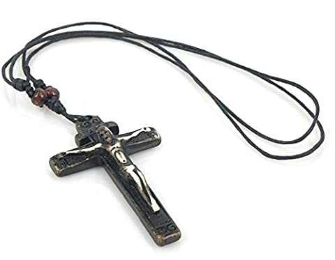 SaySure - Bone Cross Necklace Hand-made Carving Jesus God Pendant