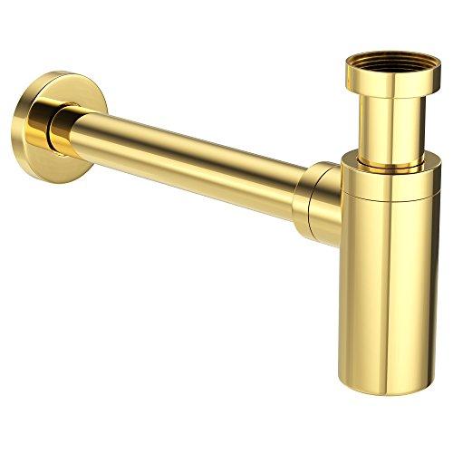 """Design Siphon Flaschensiphon Sifon Ablaufgarnitur Ablauf rund 1 1/4""""x32mm vergoldet gold"""