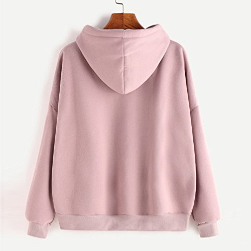 Femme Sweatshirt Lonshell mesdames solide sweat occasionnels pull haut chemisier WS06 Rose