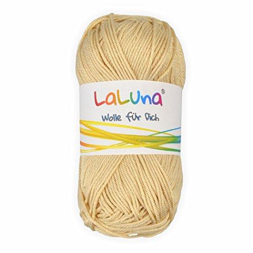 Basic Wolle creme 100% Baumwolle 50g - 125m, Strick und Häkelgarn der Marke LaLuna® (Baumwolle Mischung Creme)