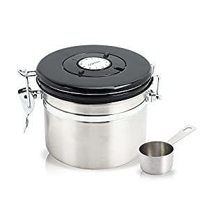 Beffee Air Tight Stainless Steel Coffee Canister with Scoop -Date Setting - Co2 Release Valve Keeps Coffee Delicious for Longe