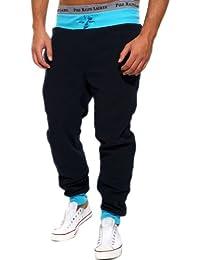 BetterStylz Jogginghose Sweatpants Fitness Hose Yuba div. Farben (S-XXL) (S, Dark Navy/Türkis)