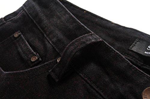 SSLR Herren Gerades Geschnittenes Bein Slim Fit Straight Jeans Dunkel Rot
