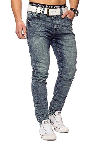 Herren Sweat Jeans Acid Wash Conques ID1420 Regular Fit Blau