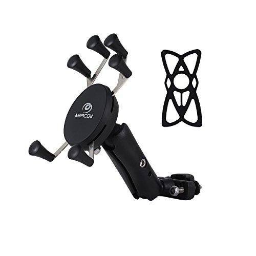 MEACOM Motorrad Handyhalter Anti-Shake Fahrradhalterung Universal Fahrrad Handy Halter für 3.5-6.5 Zoll Handy und GPS (BH006-Neu Version) (Schwarz 3)