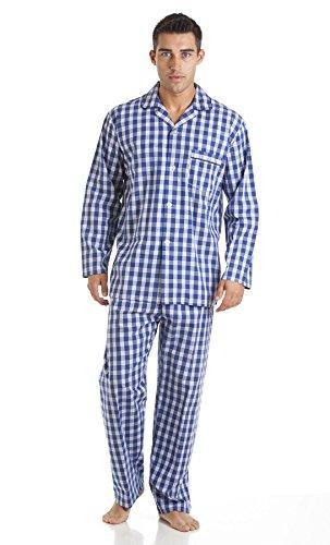 Herren HAIGMAN bedruckt 100% Baumwolle lang Pyjama Nachtwäsche Lounge Wear Blau - Blue Check
