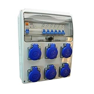 AW-TOOLS Baustromverteiler/Wandverteiler 6 x 230V/16A Schuko + LS und FI verdrahtet