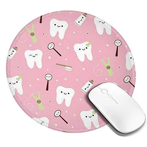 Round Mouse Pad - Gaming Mousepad zum Bedrucken mit Zähnen für Computer/Laptop rutschfeste Gummi-Mausunterlage