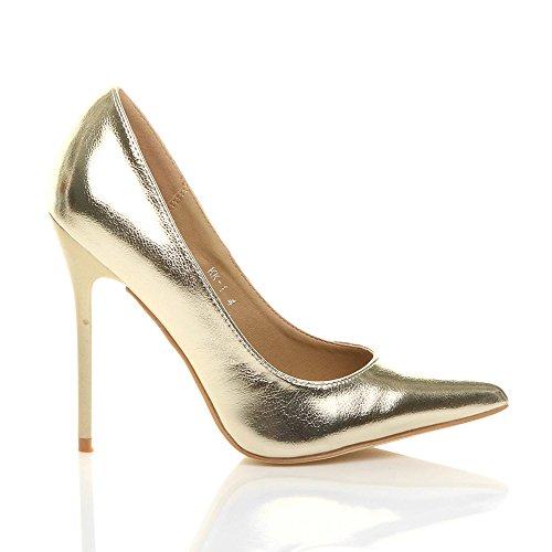 Femmes À Talons Hauts Travaillent Élégant Parti Chaussures De Mode Pointé Pompes Taille Or Métallisé