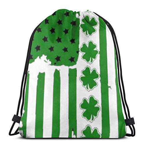 Bag hat St Patrick's Day Irish Usa Flag 3D Print Drawstring Backpack Rucksack Shoulder Gym for Adult 16.9