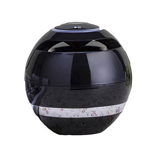 Mini LED Bluetooth Lautsprecher Wireless Round Sound Box Jukebox mit Touch-Taste Licht Farbwechsel Nachtlicht Kinder Nachttischlampe Nachtlicht Schlummerkarte Subwoofer-Lautsprecher (Schwarz) -