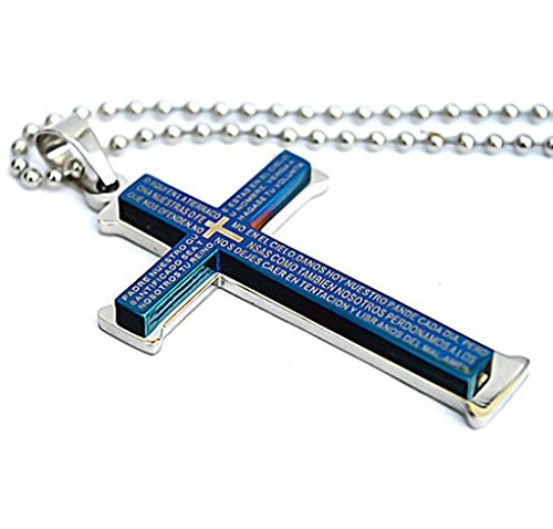 stainless-steel-mens-gothic-necklace-cross-blue-chinese-bronze-inscriptions-52316cm