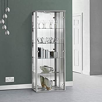 displaysense silver glass display cabinet with lighting 670mm rh amazon co uk