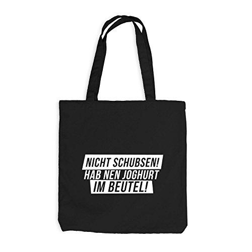 Jutebeutel - Nicht Schubsen! Hab Nen Joghurt Im Beutel! - Fun Style Schwarz