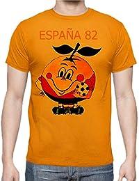 The Fan Tee Camiseta de Hombre Divertidas Naranjito 82 Mundial ESPAÑA Futbol Deporte Retro
