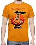 The Fan Tee Camiseta de Hombre Divertidas Naranjito 82 Mundial ESPAÑA Futbol Deporte Retro L