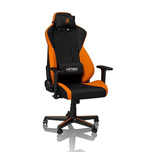 Orange Stoff Mit Einem Ergonomischen Stuhl (NITRO CONCEPTS S300 Gamingstuhl - Bürostuhl - Schreibtischstuhl - Stoffbezug - Horizon Orange (Orange))