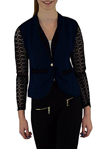 S&LU eleganter Damen-Blazer mit Spitzen-Ärmeln und weiteren schönen Spitzendetails in tollen Farben Dunkelblau