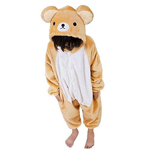 Unicsex Süß Tier Einhorn Overall Pyjama Kostüme Schlafanzug Für Kinder Jungen/ Mädchen (138CM-148CM, Bär) (Junge Bären Kostüm)